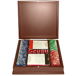 100 10G Sopranos All Clay Poker Chips w/Dark wood poker chip case
