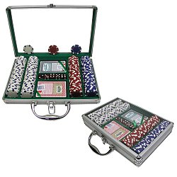 200 Dice Striped 11.5g Chips w/Clear Cover Aluminum Case
