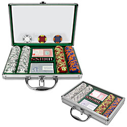 200 Chip Tri-Color Suit Set w/Clear Cover Aluminum Case