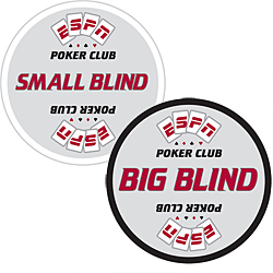 Set of ESPNR Texas Hold'em Poker Blind Buttons