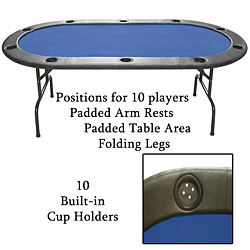 Full Size Texas Holdem Blue Felt Poker Table