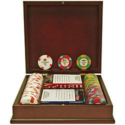 PaulsonT Pharaoh Casino Top Hat 100 Chip Set w/dark wood Case