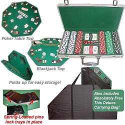 300 11.5g Dice Striped Chips, Alum Case, & Poker Table Top