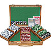 300 11.5G Jackpot Casino Clay Poker Chips w/Genuine Oak Case
