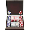 100 pc LUCKY CROWN 11.5g Poker Chip Set w/dark stained wood