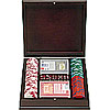 100 Las Vegas EDGE SPOT NEXGENT Poker Chips w/dark stained wood