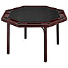 Mahogany Finish Octagonal Poker Table with Black Vinyl Top